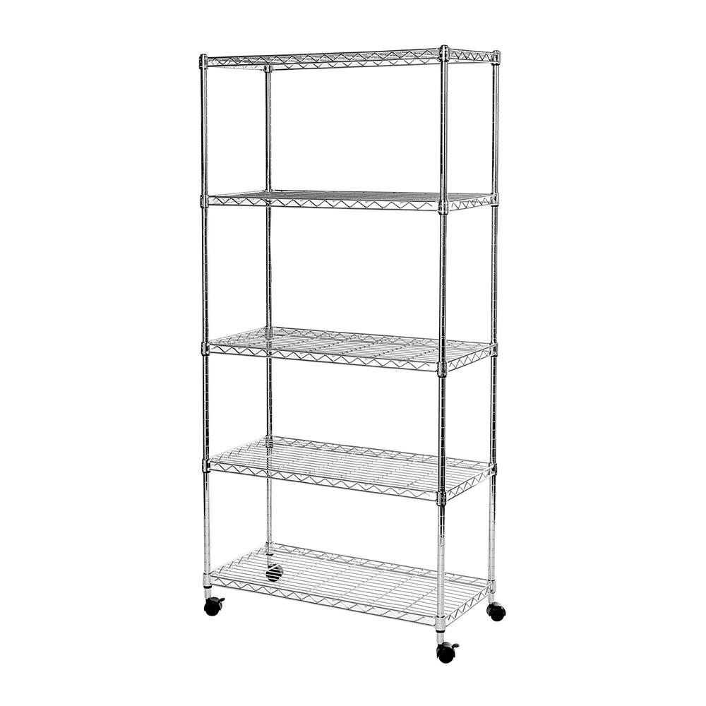 Wire Shelving With Casters | Seville Classics 14 In D X 30 In W X 60 In H 5 Tier Wire Shelving