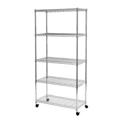 14 in D x 30 in W x 60 in H, 5-Tier Wire Shelving With Wheels