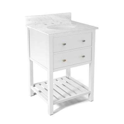 Harrison 25 in. W x 22 in. D Vanity in White with Marble Vanity Top in White with White Basin