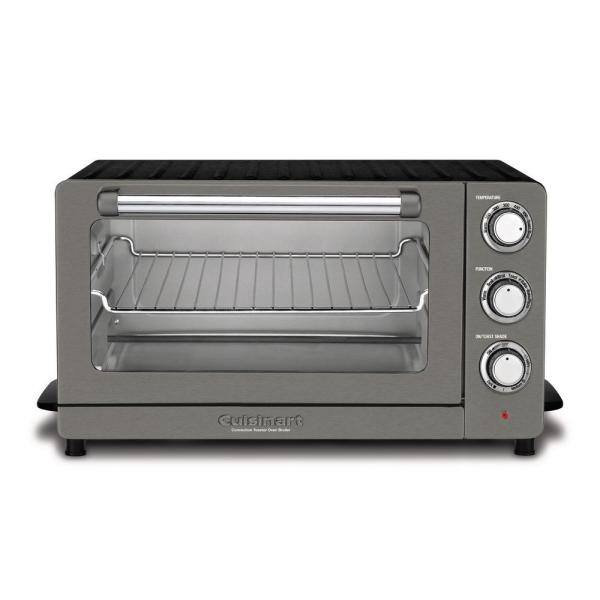 1500 W 6-Slice Black Stainless Steel Convection Toaster Oven with Broiler