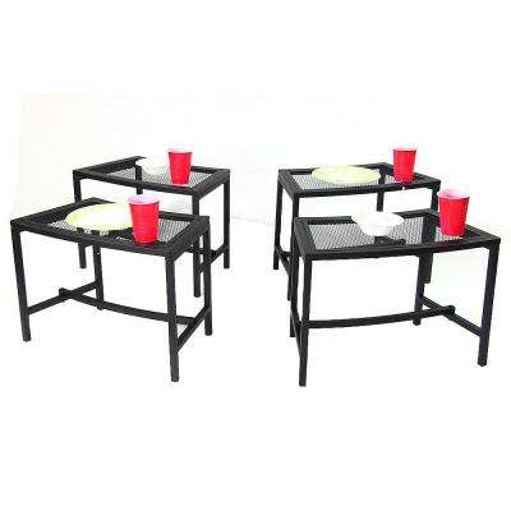 Black Mesh Metal Patio Side Table - 4 Tables