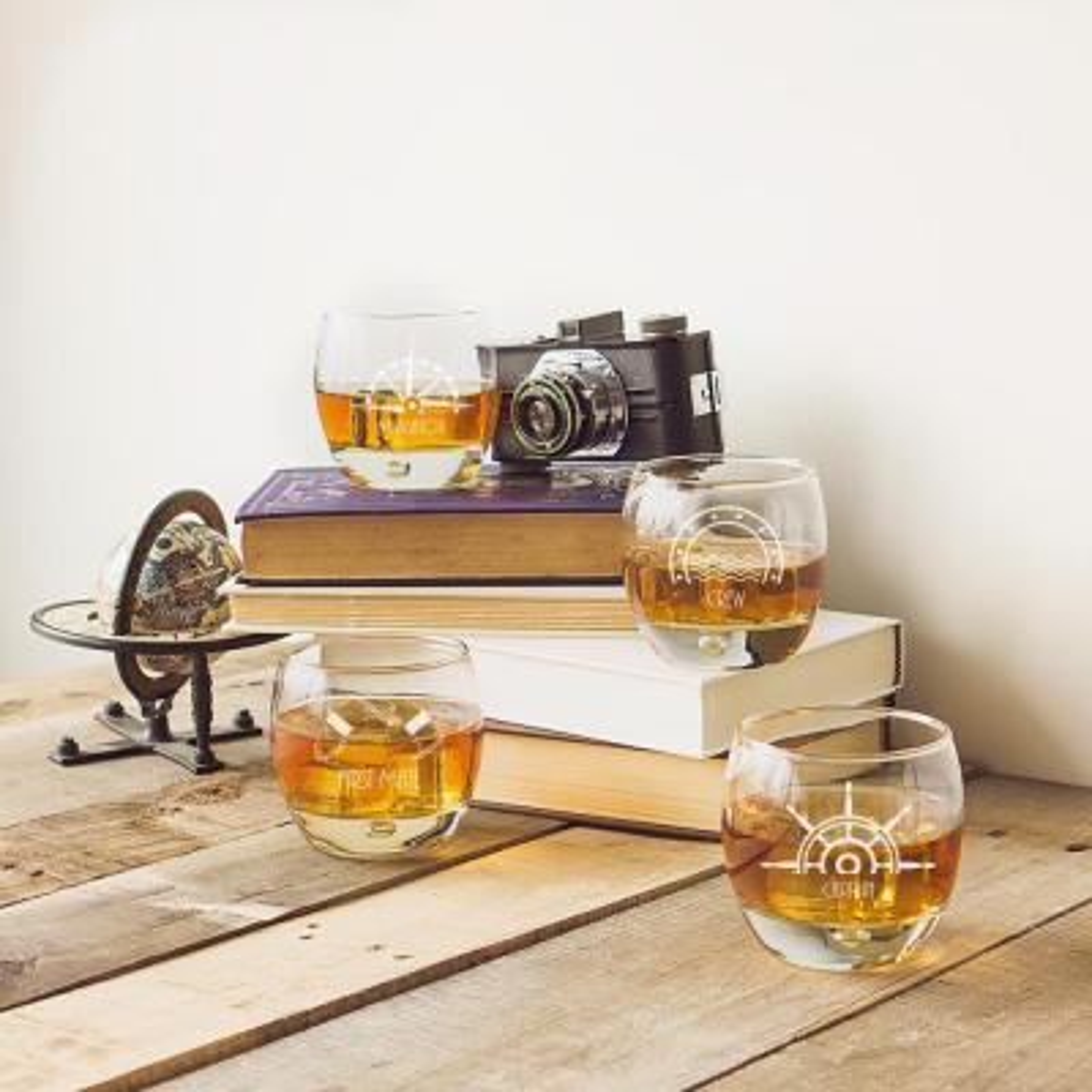 Nautical 10.75 oz. Glass Heavy Based Whiskey Glasses