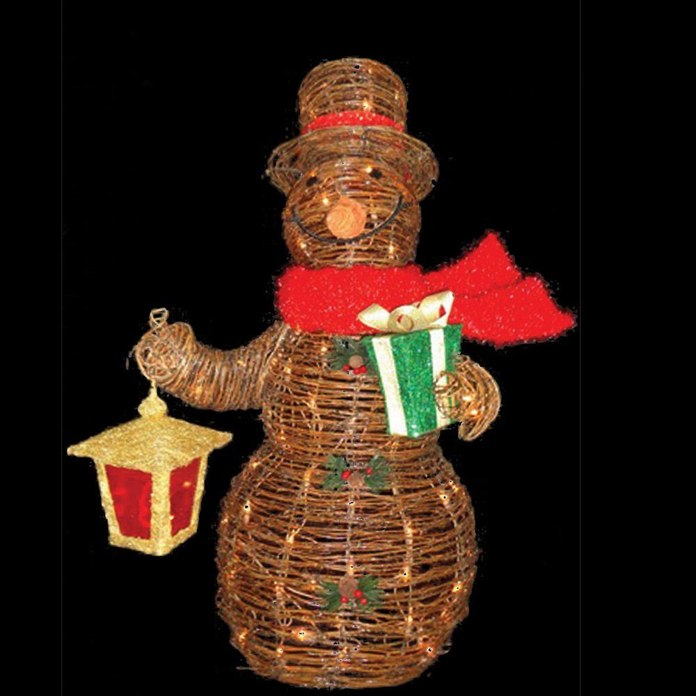 Best Christmas Decorations Fort Lauderdale: Sterling 3 Ft. Lighted Decorated Rattan Snowman-92513002