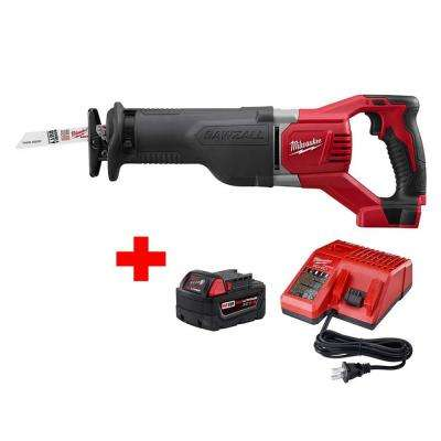 M18 18-Volt Lithium-Ion Cordless Sawzall Reciprocating Saw with M18 Starter Kit (1) 5.0Ah Battery and Charger