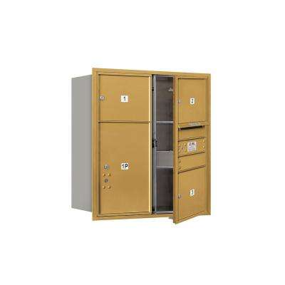 3700 Horizontal Series 3-Compartment with 1-Parcel Locker Recessed Mount Mailbox