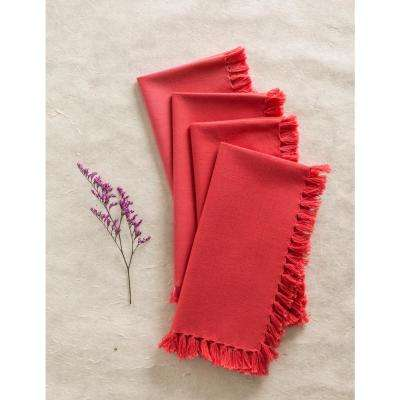 Coral Essential Fringed Napkins (Set of 4)