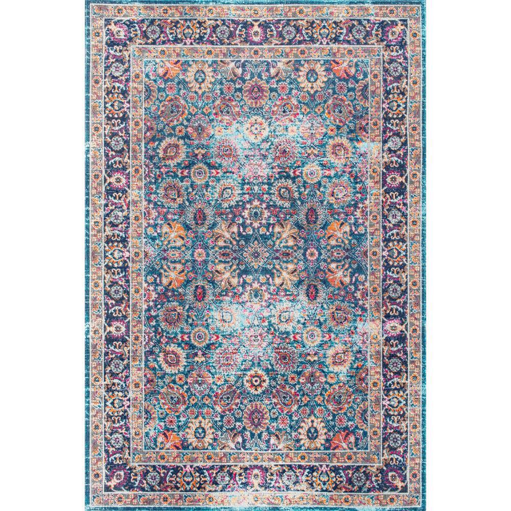 NuLOOM Vintage Persian Floral Isela Blue 8 Ft. X 10 Ft