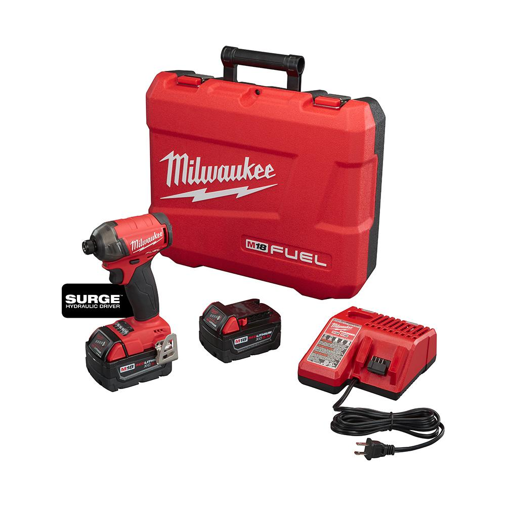 Milwaukee M18 FUEL SURGE 18-Volt Lithium-Ion Brushless Cordless 1/4 in. Hex Impact Driver Compact Kit with Two 5.0 Ah Batteries