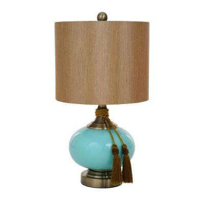 21 in. Blue Glass Table Lamp with Brown Shade and Tassels