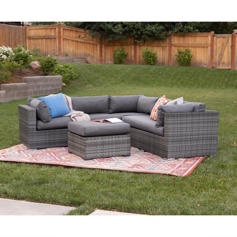 Walker Edison Furniture Company Gray 4-Piece Wicker Patio Conversation Set with Cushions