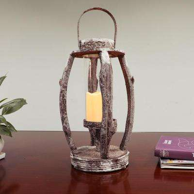 22 in. Tall Round Wooden Lantern with LED Candle