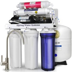 Click here to buy ISPRING WQA Gold Seal Maximum Performance Under Sink Reverse Osmosis Water Filtration System w/ Booster Pump and Alkaline Filter by ISPRING.