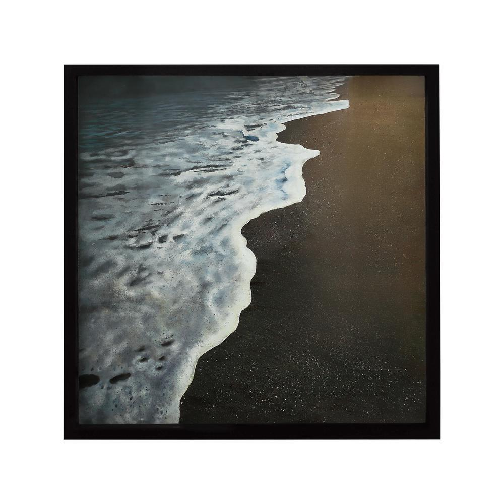 "31 in. x 31 in. ""Virginia Beach"" Hand Painted Framed Canvas"