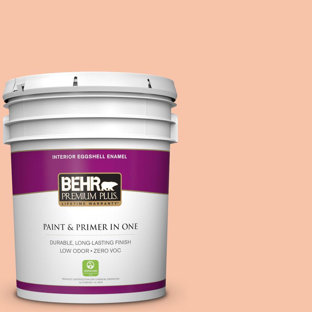 BEHR Premium Plus 5-gal. #230C-3 Pink Beach Zero VOC Eggshell Enamel Interior Paint