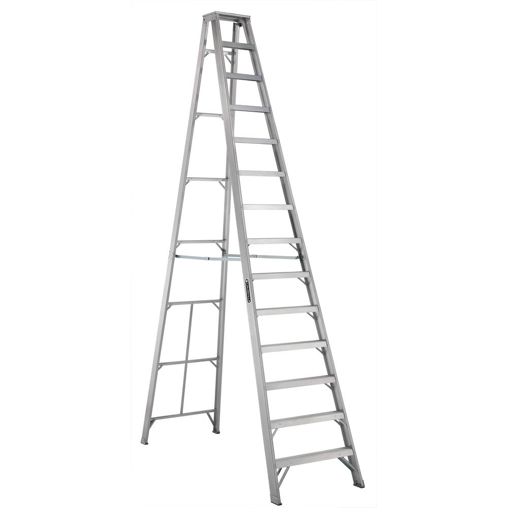 louisville ladder 14 ft aluminum step ladder with 300 lbs load capacity type ia duty rating. Black Bedroom Furniture Sets. Home Design Ideas