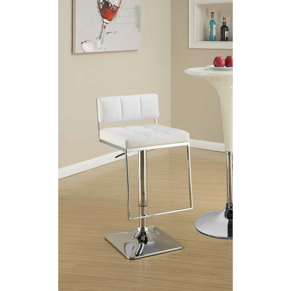 Rec Room Adjustable White Low-Back No Arms Bar Stool, Whi...