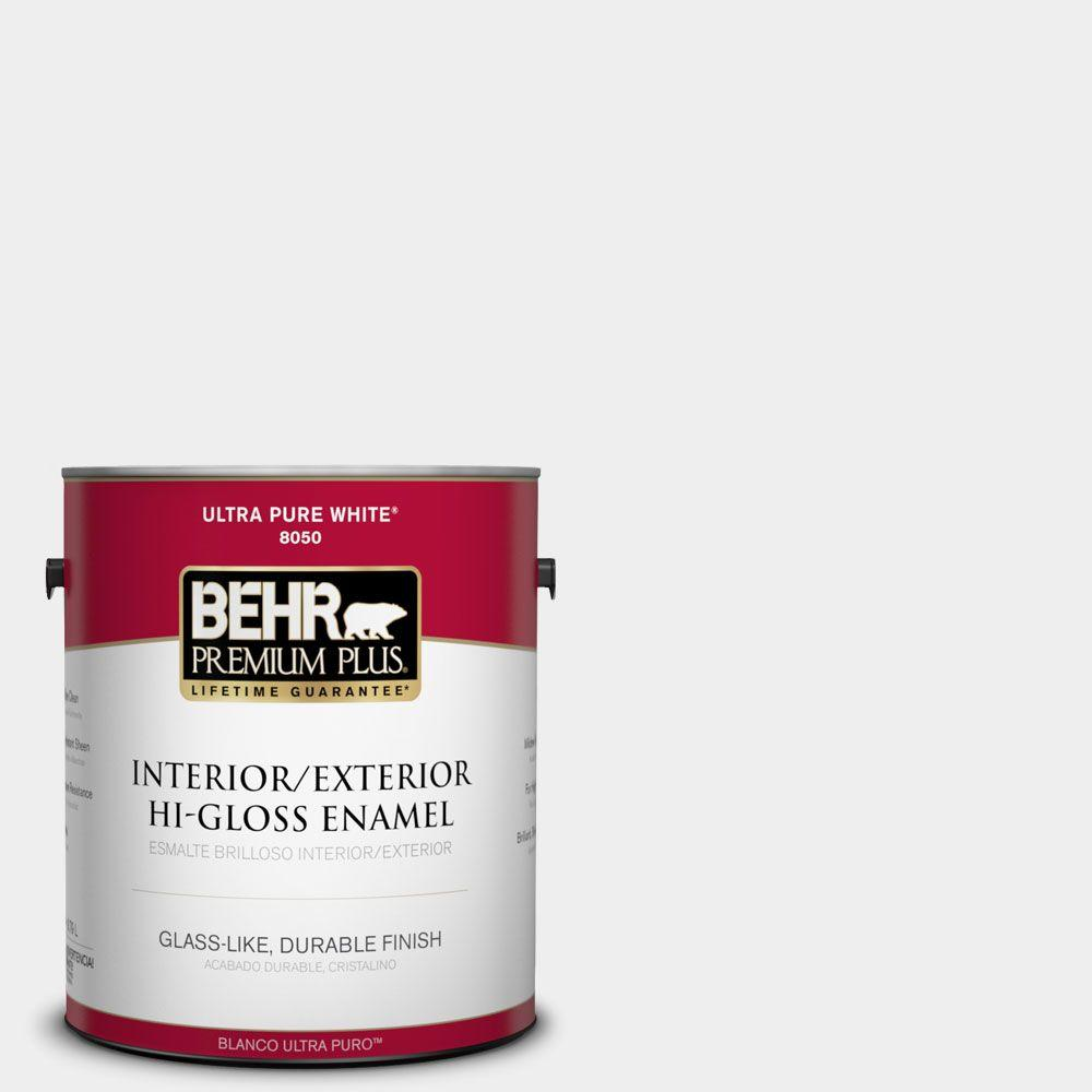 BEHR Premium Plus 1-gal. #W-D-610 White Glove Hi-Gloss Enamel Interior/Exterior Paint