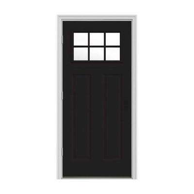 32 in. x 80 in. 6 Lite Craftsman Black w/ White Interior Steel Prehung Right-Hand Outswing Front Door w/Brickmould