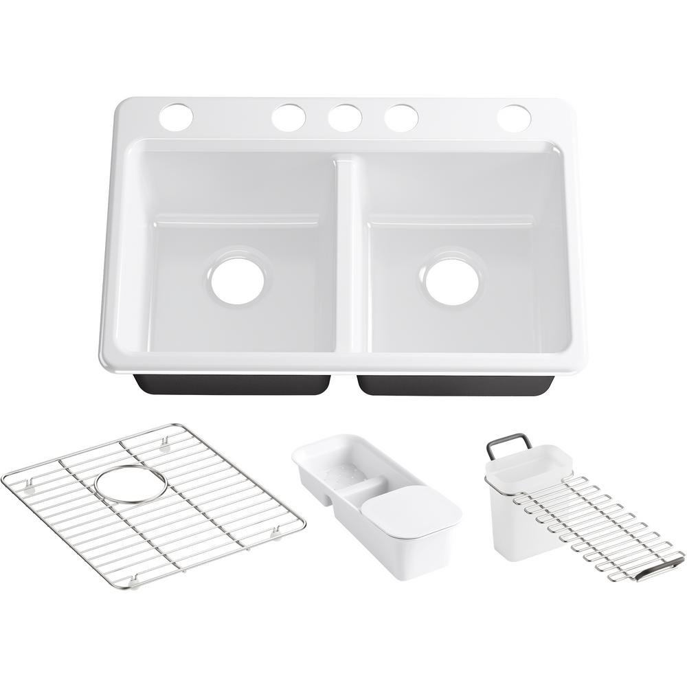 KOHLER Riverby Undermount Cast Iron 33 in. 5-Hole Double Bowl Kitchen Sink Kit with Accessories in White