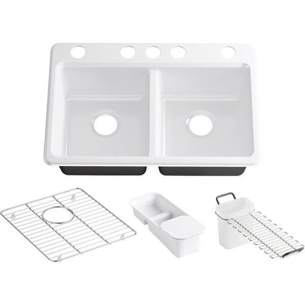 Riverby Workstation Undermount Cast Iron 33 in. 5-Hole Double Bowl Kitchen Sink Kit in White with Accessories