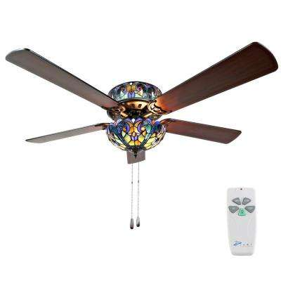Halston 52 in. Indoor Blue Stained Glass Ceiling Fan