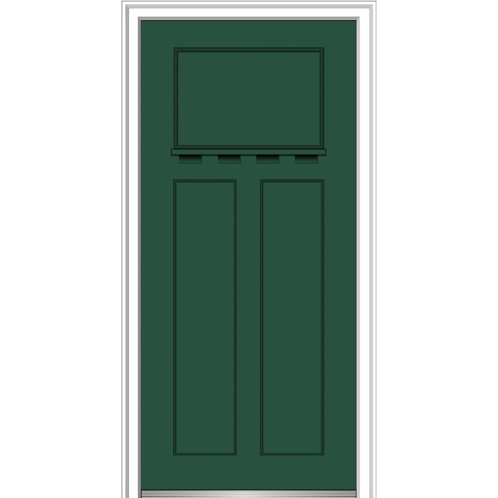 MMI Door 32 in. x 80 in. Shaker Right-Hand Craftsman 3-Panel Painted Fiberglass Smooth Prehung Front Door with Dentil Shelf