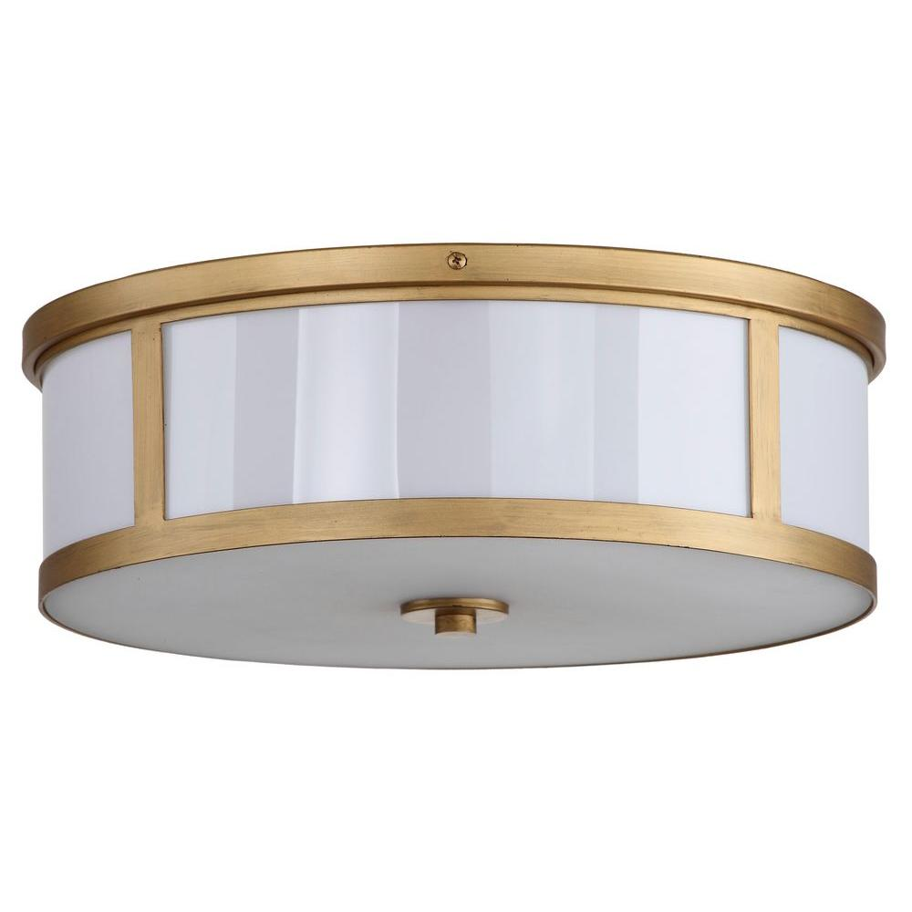 Safavieh Avery Ceiling Drum 2 Light Antique Gold Flushmount