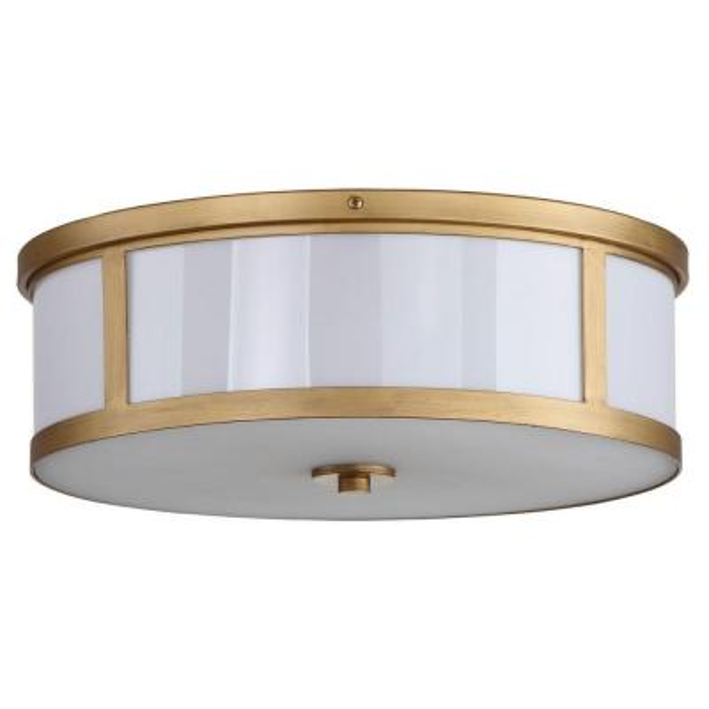 Avery Ceiling Drum 17 in. 2-Light Antique Gold Flush Mount