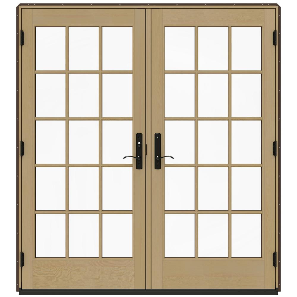 Jeld wen 72 in x 80 in w 4500 dark chocolate prehung for 96 inch exterior french doors
