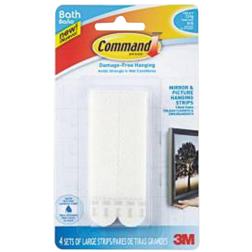 Large Bath Picture Hanging Water Resistant Refill Strips (4 Pairs of
