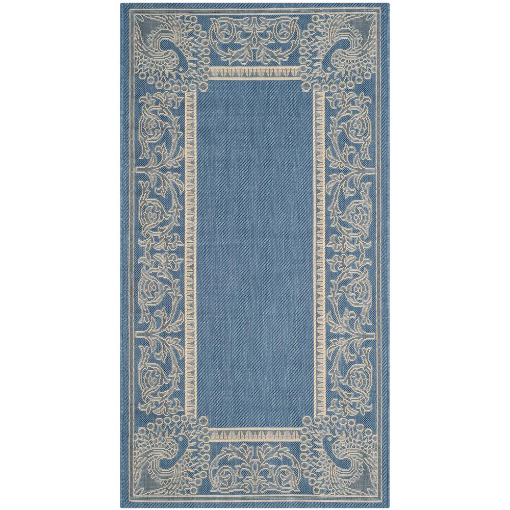 Safavieh Outdoor: Safavieh Courtyard Blue/Natural 3 Ft. X 5 Ft. Indoor