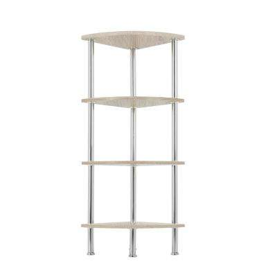Whitewashed Oak and Chrome Corner 4-Tier Shelving Unit