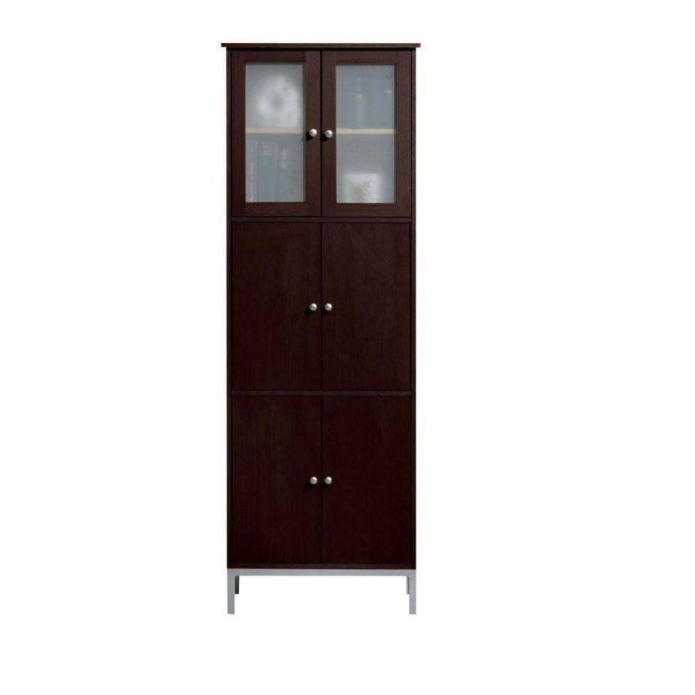 Home Decorators Collection Amanda 25 in. W Wood Double-Tall Cabinet in Dark Brown