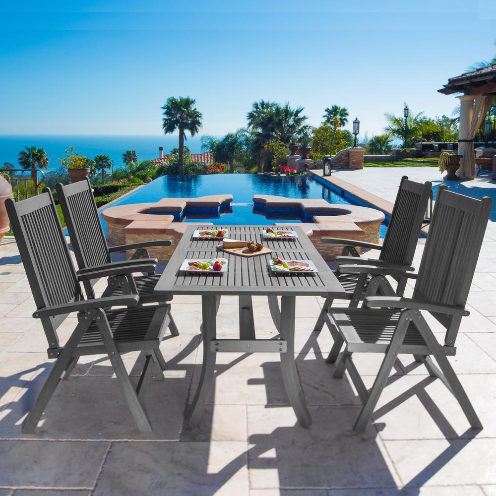 Renaissance 5-Piece Wood Rectangular Outdoor Dining Set