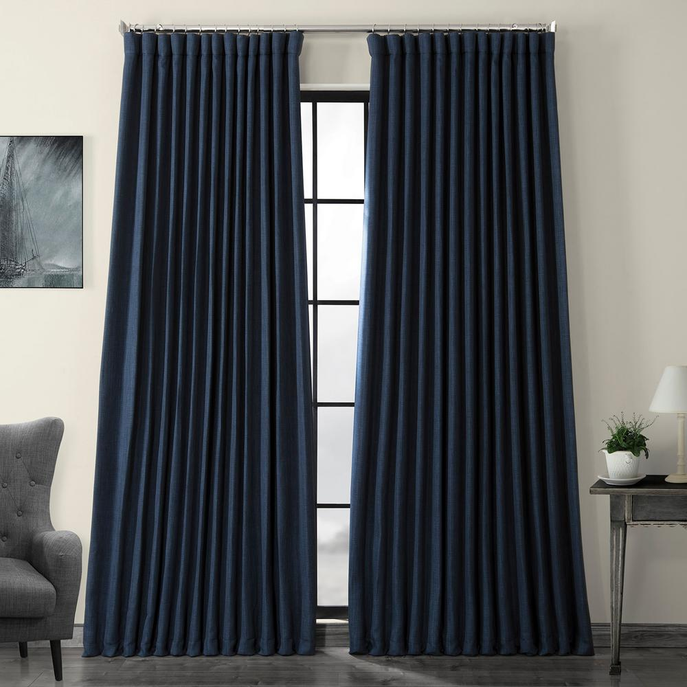 Exclusive Fabrics & Furnishings Indigo Blue Faux Linen Extra Wide Blackout Curtain - 100 in. W x 84 in. L