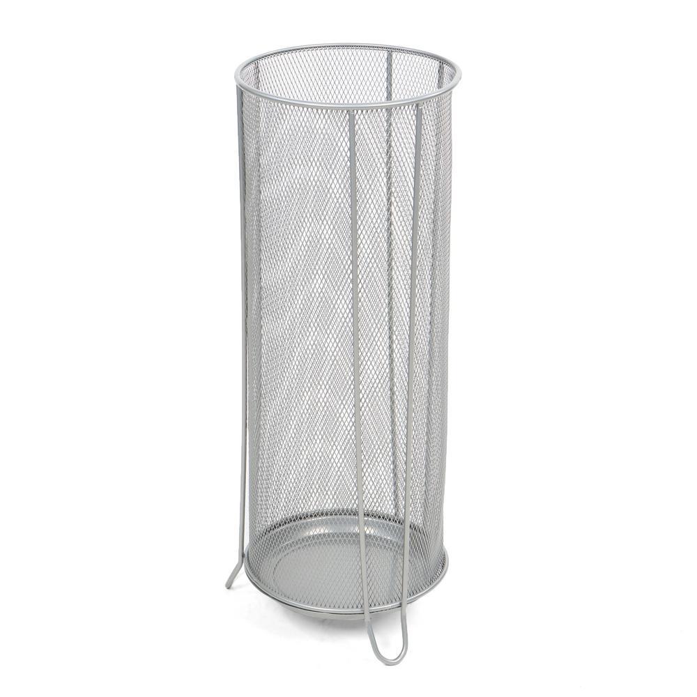 Silver Metal Mesh Umbrella Stand