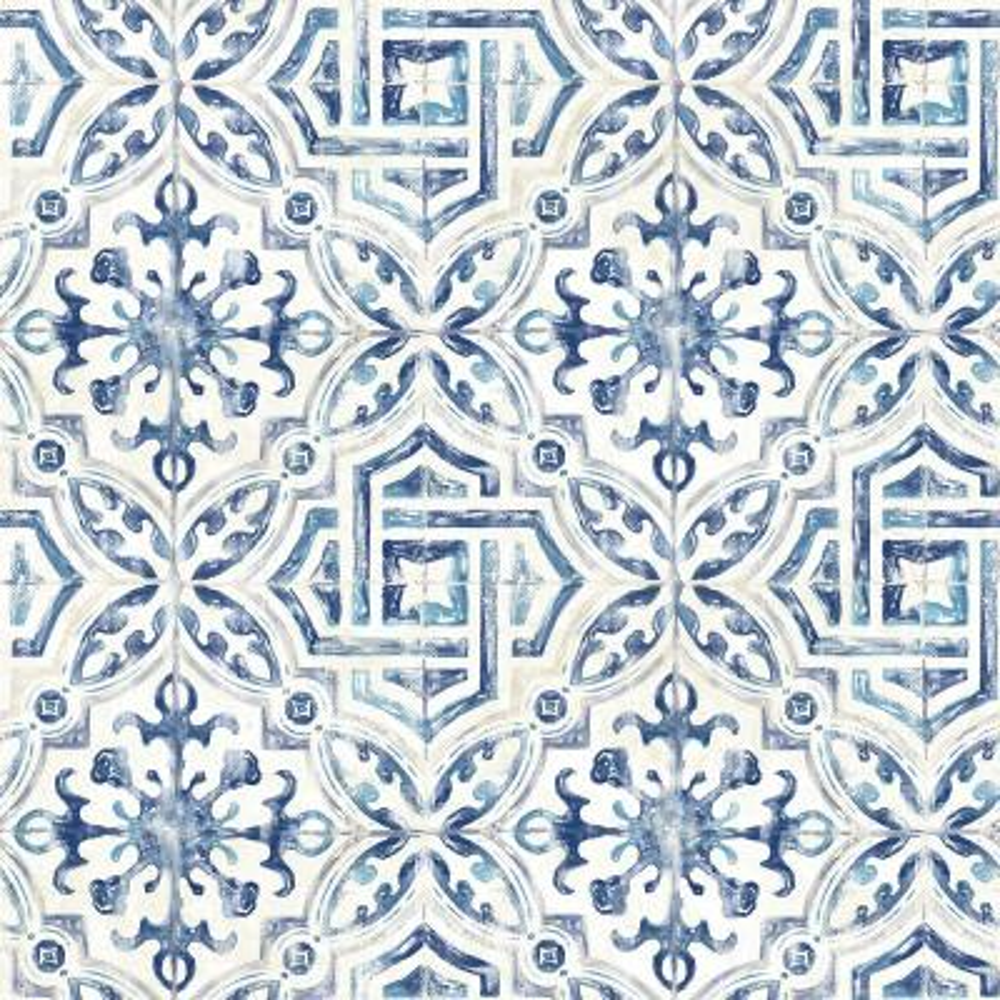 8 in. x 10 in. Sonoma Blue Spanish Tile Wallpaper Sample