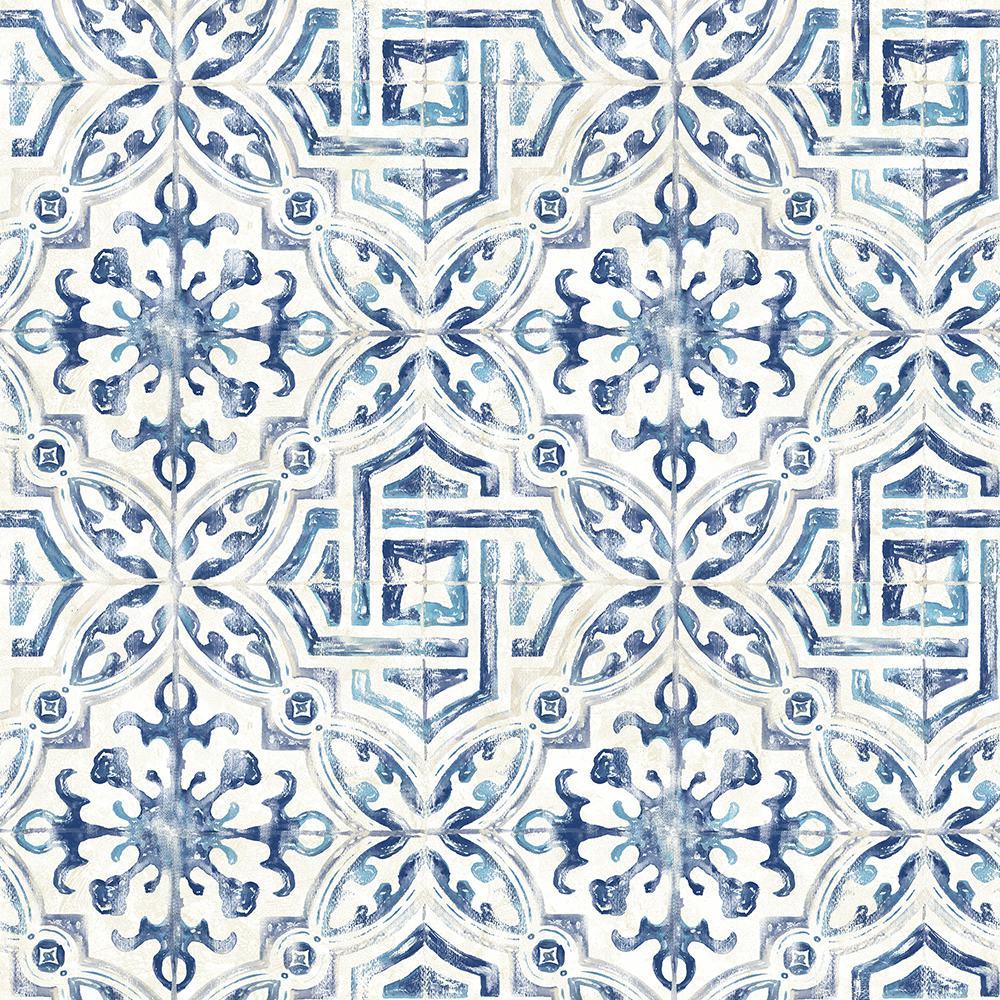 56.4 sq. ft. Sonoma Blue Spanish Tile Wallpaper