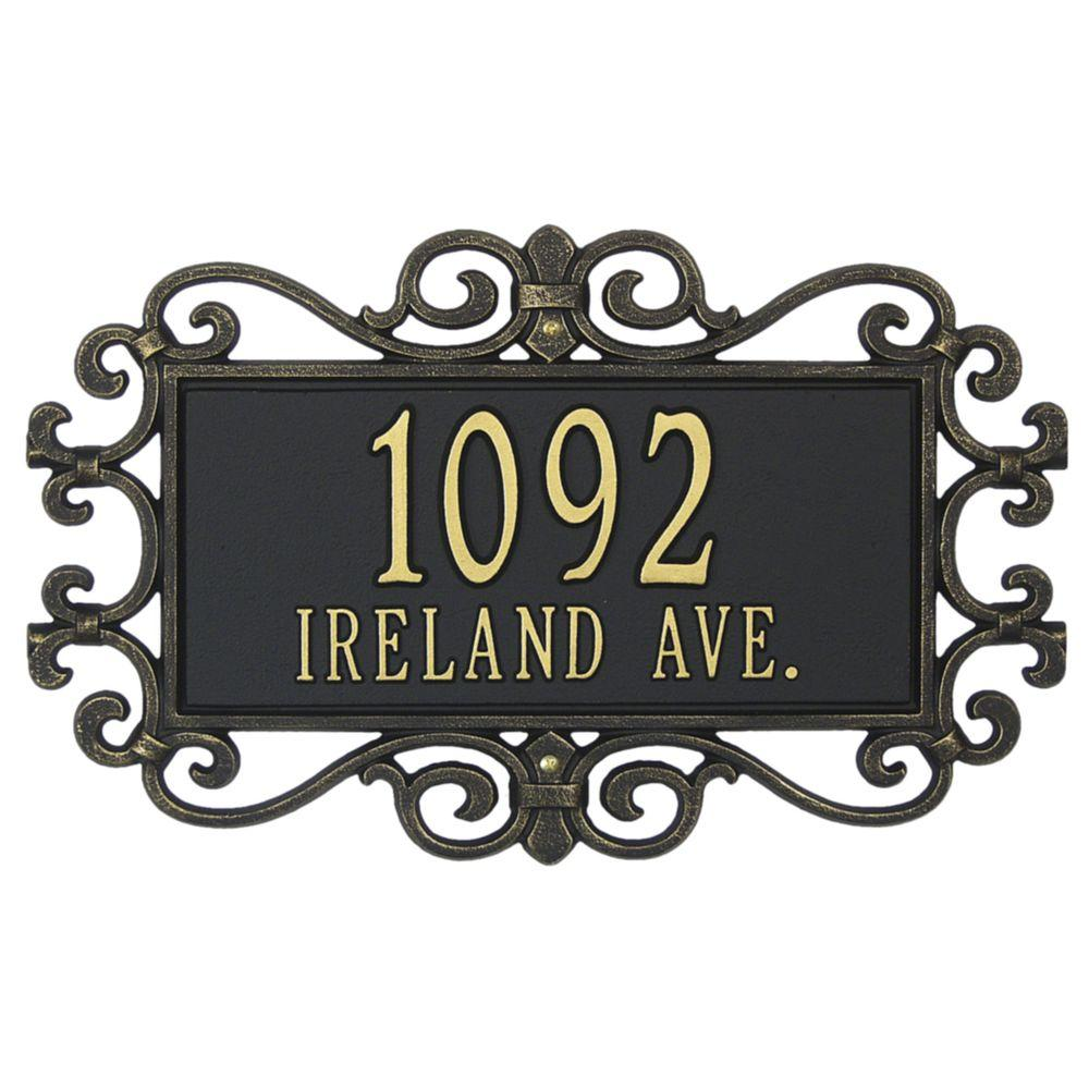 Whitehall Products Mears Fretwork Rectangular Black/Gold Standard Wall Two Line Address Plaque