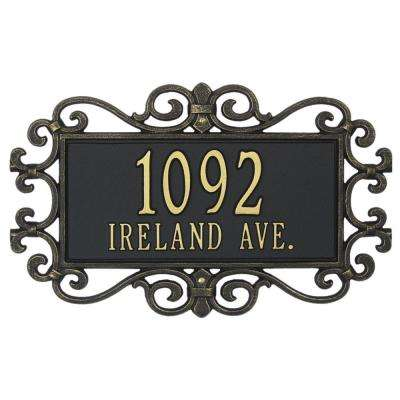 Mears Fretwork Rectangular Black/Gold Standard Wall Two Line Address Plaque