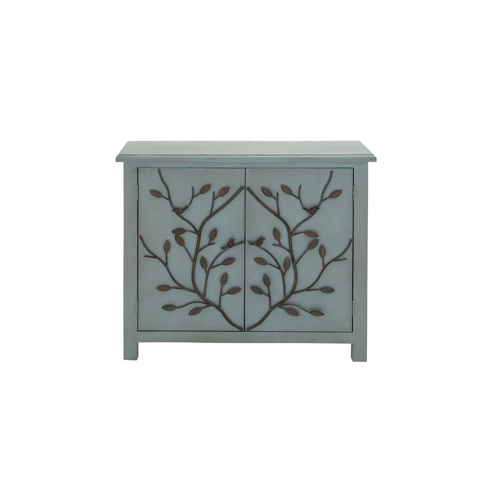 Litton Lane Country Inspired Dusty Blue Wooden Accent Cabinet 60135 The Home Depot