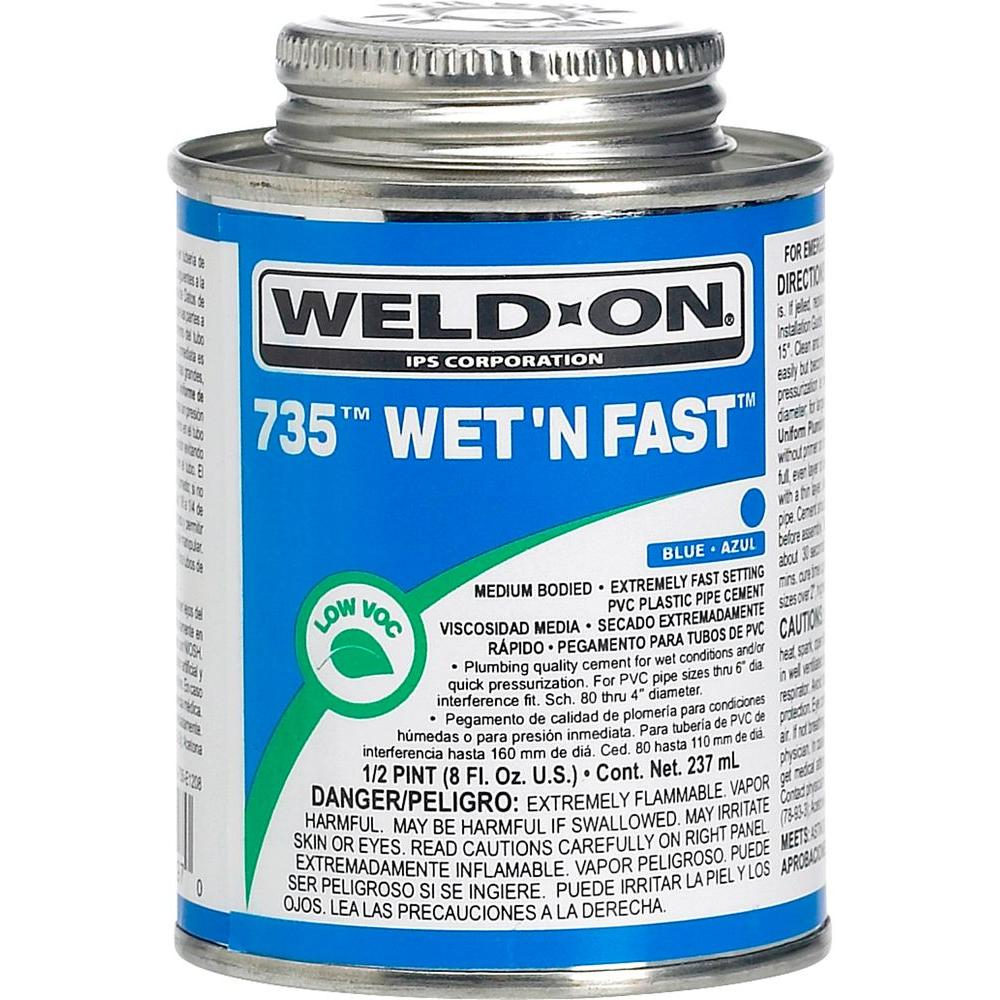 Blue Pvc Cement : Weld on oz pvc wet n fast cement in blue