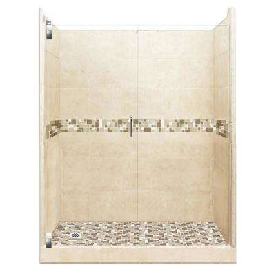 Tuscany Grand Hinged 34 in. x 60 in. x 80 in. Left Drain Alcove Shower Kit in Desert Sand and Chrome Hardware