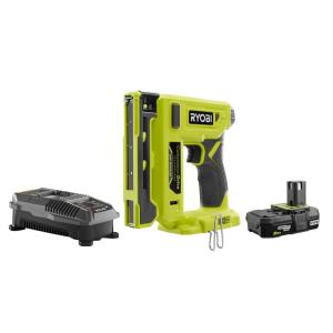 18-Volt ONE+ Cordless Compression Drive 3/8 in. Crown Stapler Kit with 2.0 Ah Battery and Charger