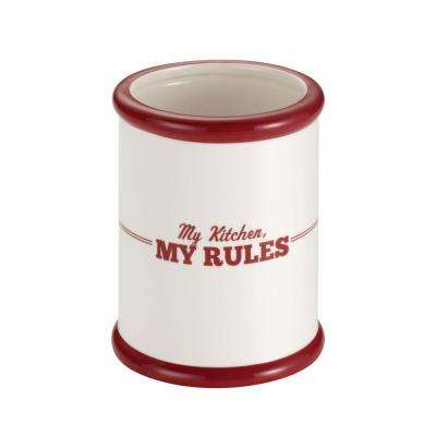 Countertop Accessories Ceramic Tool Crock in Cream with Red, My Kitchen and My Rules Pattern