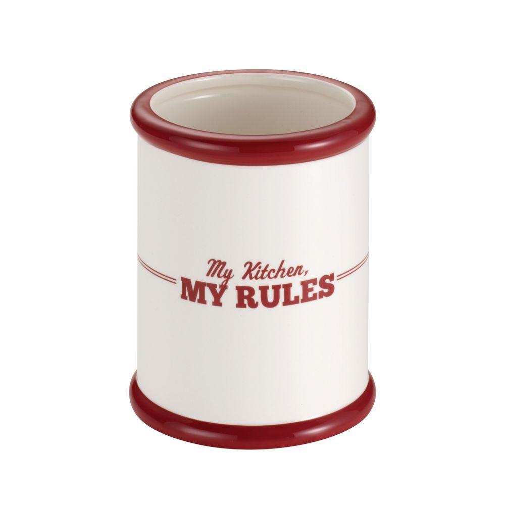 Cake Boss Countertop Accessories Ceramic Tool Crock in Cream with Red,