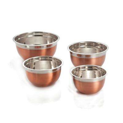 4-Piece Stainless Steel Mixing Bowls with Copper Finish