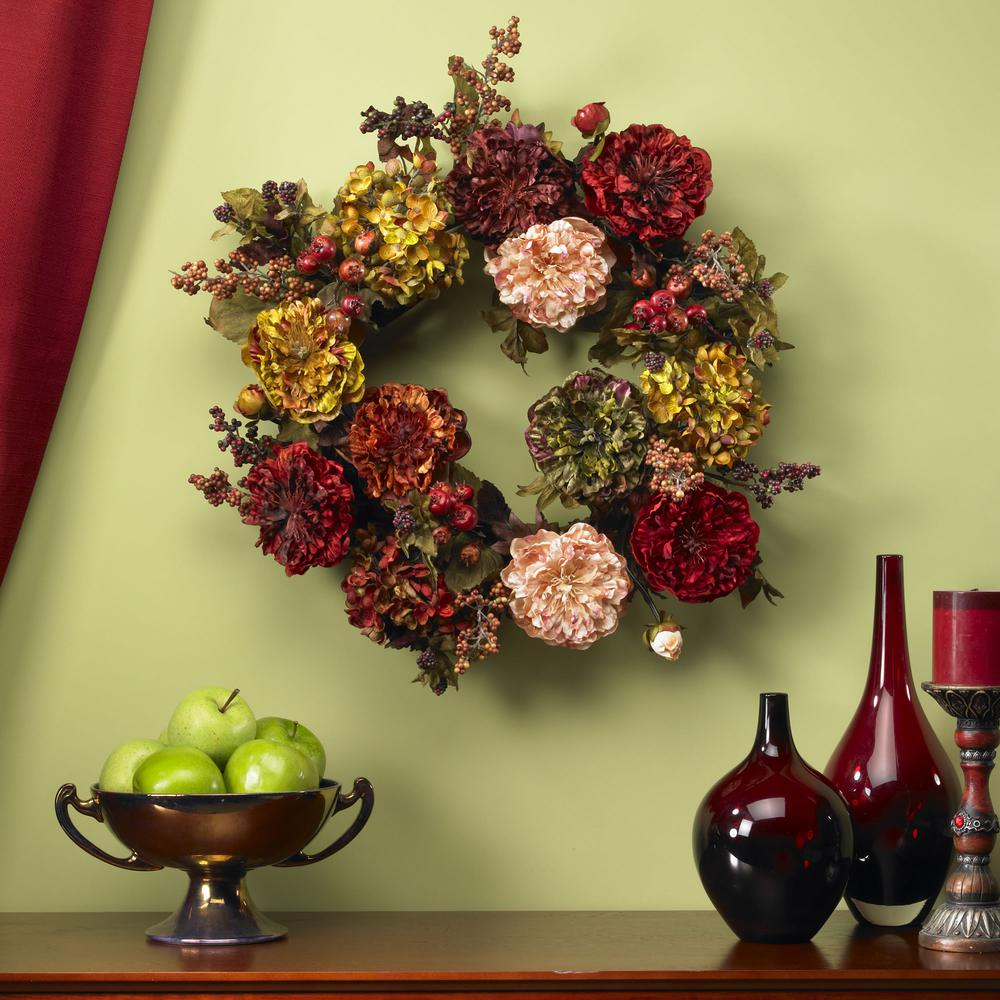 Red Nearly Natural 4911 Autumn Hydrangea Peony Wreath 22-Inch