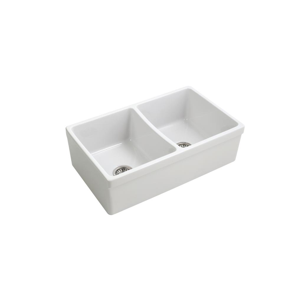 Empire Industries Opera Farmhouse Fireclay 33 In. 50/50 Double Bowl Kitchen  Sink