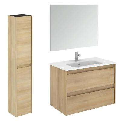 Ambra 31.6 in. W x 18.1 in. D x 22.3 in. H Bathroom Vanity Unit in Nordic Oak with Mirror and Column